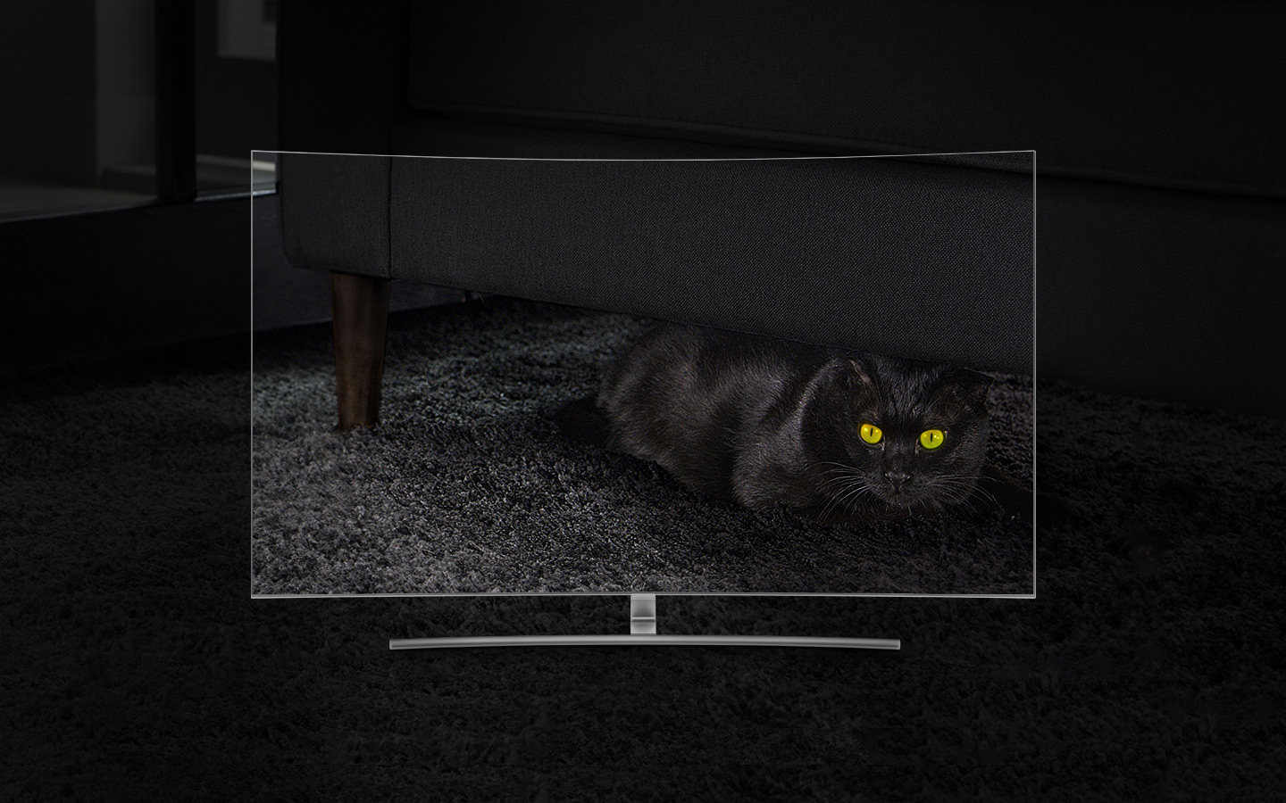 QLED TV Curved has been placed directly with front face and on its screen shows a black cat hiding in the dark under the sofa in the living room. The closer we go to 1500 nits, the more clearly we can see the cat although we could identify its eyes only at first.