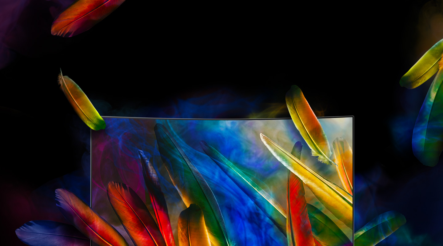 Curved QLED TV has been placed with front face, and feathers of various colors are falling into the screen. Colorful feathers have been shown on QLED TV's screen as the fallen feathers have been reflected.